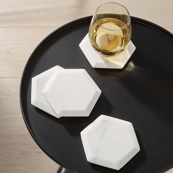 Threshold 4pk Marble Hexagonal Coasters White